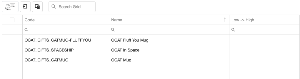 OCAT Simple grid with options